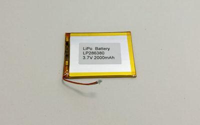 Ultra Thin Li Poly Battery LP286380 3.7 V 2000mAh