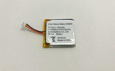 3.7V Li Polymer Battery LP402933 320mAh 1.184Wh