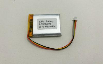 Lithium Polymer Battery LP553040 3.7V 650mAh 2.405Wh