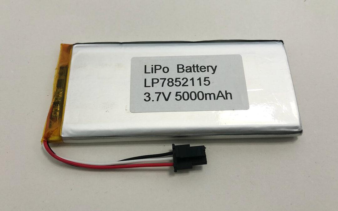 Long LiPo Battery LP7852115 3.7V 5000mAh 18.5Wh