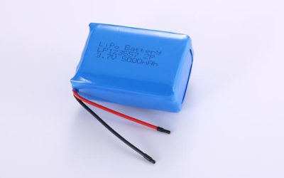 Lithium Polymer Battery Pack LP123557 2P 3.7V 5000mAh 18.5Wh with protection circuit and wires 50mm