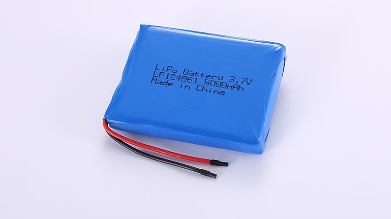 Li Poly Battery LP124861 3.7V 5000mAh 18.5Wh with protection circuit and wires 50mm