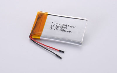 Li-Poly Cell LP283048 3.7V 380mAh 1.41Wh without PCM but with wires 30mm