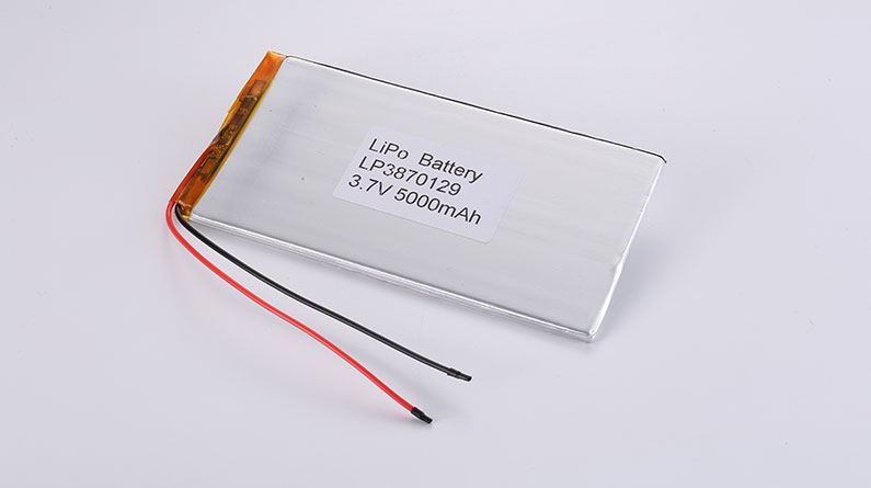 LiPo Batteries LP3870129 3.7V 5000mAh 18.5Wh with protection circuit and wires 100mm