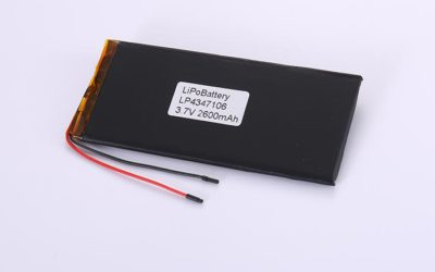 LiPo Battery LP4347106 3.7V 2600mAh 9.62Wh with protection circuit and wires 50mm