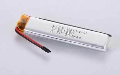 Rechargeable Lithium Polymer Battery LP561563 3.7V 560mAh 2.07Wh with protection circuit and wires 30mm
