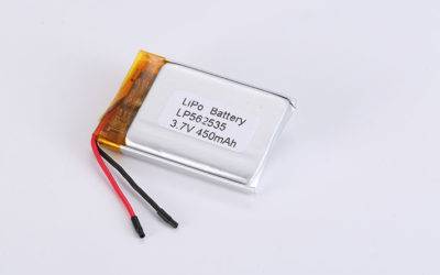 Popular Li-Polymer Battery LP562535 3.7V 450mAh 1.67Wh with protection circuit and wires 20mm