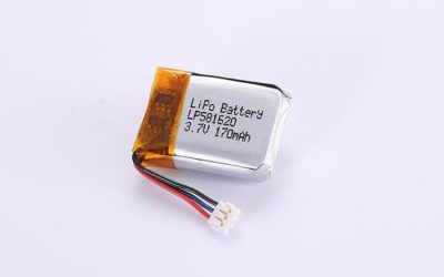 Lithium Polymer Battery LP581620 3.7V 170mAh with protection circuit and wires 50mm