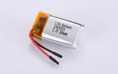 Li Poly Batteries LP651523 3.7V 200mAh 0.74Wh with protection circuit and wires 20mm