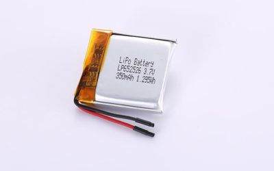 Lithium Polymer Battery LP652526 3.7V 350mAh 1.3Wh with protection circuit and wires 20mm