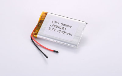 Li-Poly Batteries LP664261 3.7V 1800mAh 6.66Wh with protection circuit and wires 50mm