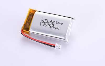 Li Poly Battery LP802036 3.7V 500mAh with protection circuit and wires 30mm and Molex 51021-0200
