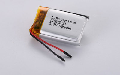 Lithium Polymer Battery LP802231 3.7V 500mAh 1.85Wh with PCM and wires 30mm