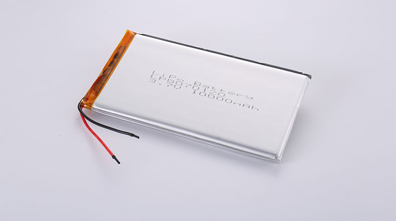High Capacity LiPo Batteries LP8070120 3.7V 10000mAh 37Wh with protection circuit and wires 30mm