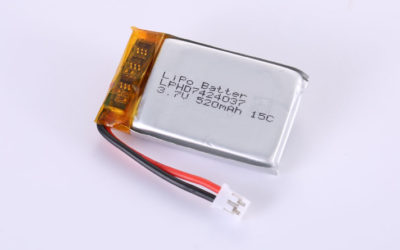 Lithium-Polymer-Battery LPHD7424037 3.7V 520mAh 1.93Wh with protection circuit and wires 30mm and JST PHR-2