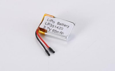 LiPo Battery LP351420 3.7V 65mAh 0.24Wh with protection circuit and wires 10mm