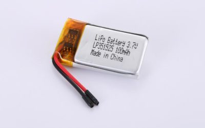 LiPo Battery LP351525 3.7V 100mAh 0.37Wh with protection circuit and wires 15mm