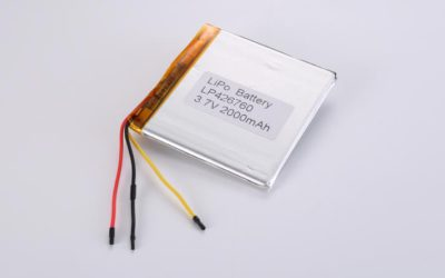 LiPo Battery LP426760 3.7V 2000mAh 7.4Wh with protection circuit and wires 50mm and 10K NTC
