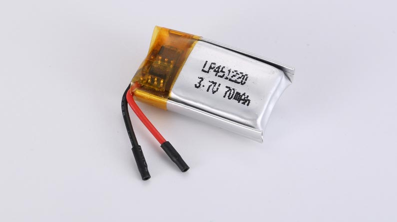 LiPo Battery LP451220 3.7V 70mAh 0.26Wh with protection circuit and wires 10mm