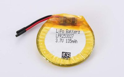 Round LiPo Battery LPR253027 3.7V 135mAh 0.5Wh with protection circuit and wires 20mm