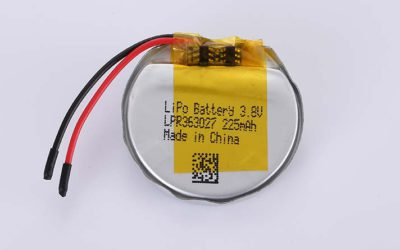 Round LiPo Battery LPR363027 3.8V 225mAh 0.86Wh with protection circuit and wires 30mm