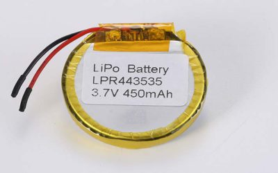 Round LiPo Battery LPR443535 3.7V 450mAh 1.67Wh with protection circuit and wires 30mm