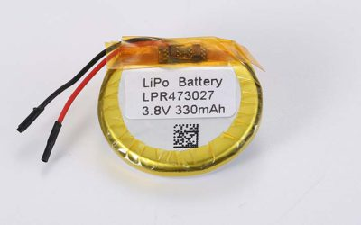 Round LiPo Battery LPR473027 3.8V 330mAh 1.25Wh with protection circuit and wires 30mm