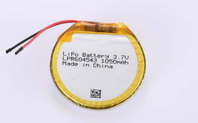 Round LiPo Battery LPR604543 3.7V 1050mAh 3.89Wh with protection circuit and wires 30mm