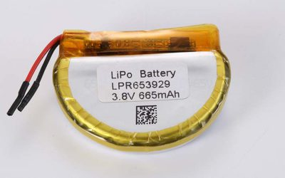 Round LiPo Battery LPR653929 3.8V 665mAh 2.53Wh with protection circuit and wires 50mm