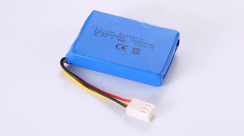 LiPo Battery LP103450A 3.7V 2000mAh 7.4Wh with protection circuit and wires 50mm and JST XHP-2