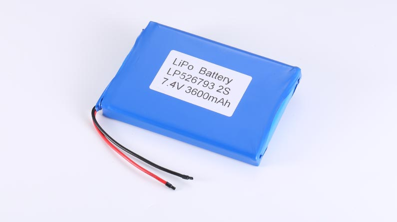 LiPo Battery LP526793 2S 7.4V 3600mAh 26.64Wh with protection circuit and wires 60mm
