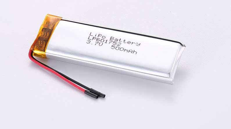 LiPo Battery LP601752 3.7V 500mAh 1.85Wh with protection circuit and wires 30mm