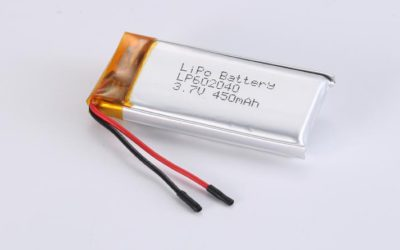 LiPo Battery LP602040 3.7V 450mAh 1.67Wh with protection circuit and wires 30mm
