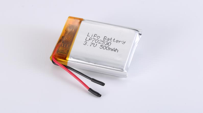 LiPo Battery LP702530 3.7V 500mAh 1.85Wh with protection circuit and wires 20mm