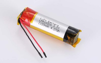 Cylindrical LiPo Battery LPC16500 3.7V 1100mAh 4.07Wh without protection circuit, with wires 40mm
