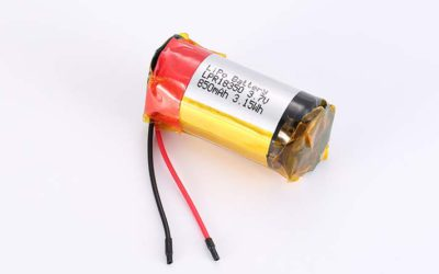 Cylindrical LiPo Battery LPC18350 3.7V 850mAh 3.15Wh without protection circuit, with wires 35mm