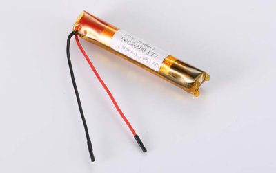 Cylindrical LiPo Battery LPC80500 3.7V 230mAh 0.85Wh without protection circuit, with wires 50mm