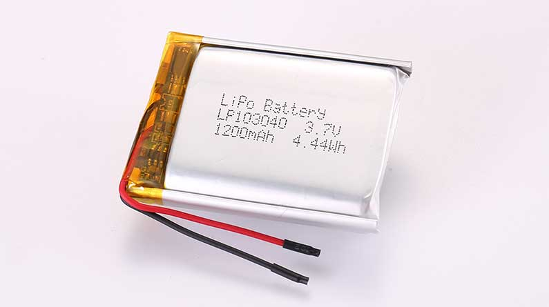 LiPo Battery LP103040 3.7V 1200mAh 4.44Wh with protection circuit and wires 30mm