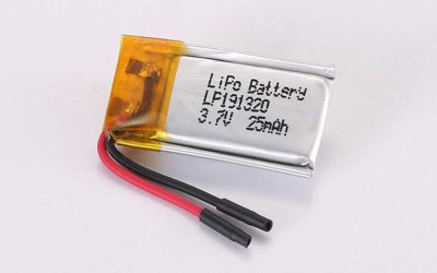 LiPo Battery LP191320 3.7V 25mAh 0.09Wh without protection circuit, but with wires 15mm