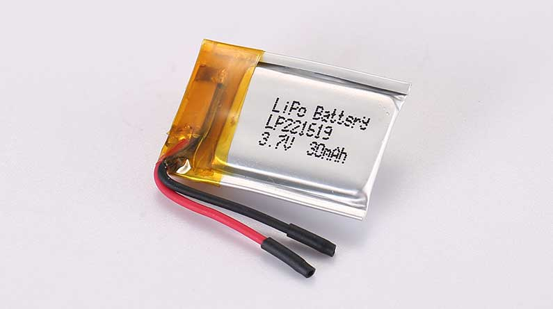 LiPo Battery LP221619 3.7V 30mAh 0.11Wh without protection circuit, but with wires 15mm