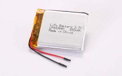 LiPo Battery LP443440 3.7V 650mAh 2.41Wh with protection circuit and wires 30mm