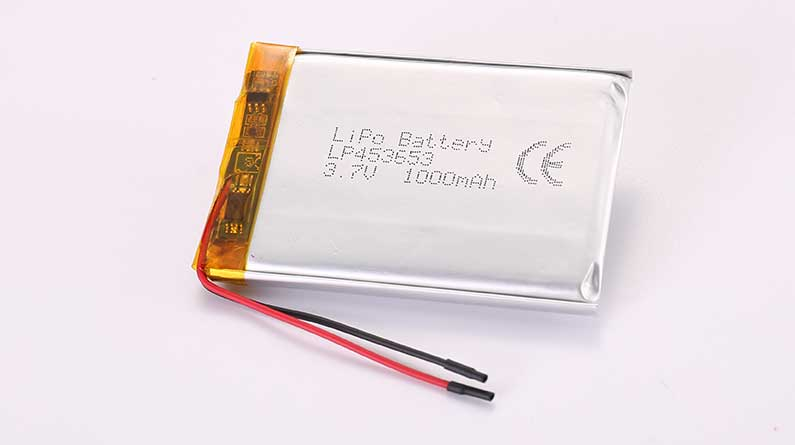 LiPo Battery LP453653 3.7V 1000mAh 3.7Wh with protection circuit and wires 40mm