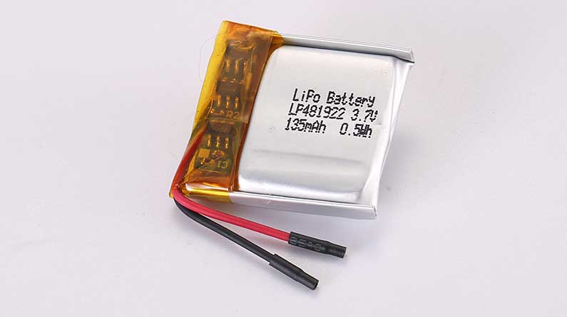 LiPo Battery LP481922 3.7V 135mAh 0.50Wh with protection circuit and wires 20mm