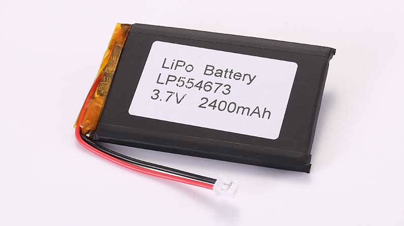 LiPo Battery LP554673 3.7V 2400mAh 8.88Wh with protection circuit and wires 50mm and JST PHR-2