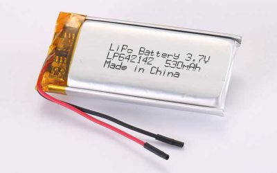 LiPo Battery LP642142 3.7V 530mAh 1.96Wh with protection circuit and wires 35mm