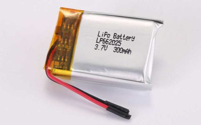 LiPo Battery LP662025 3.7V 300mAh 1.11Wh with protection circuit and wires 20mm