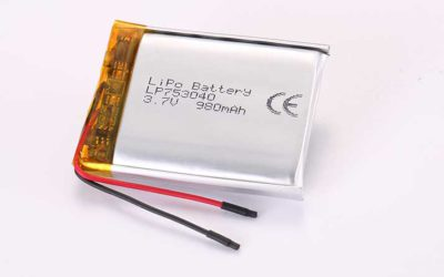 LiPo Battery LP753040 3.7V 980mAh 3.63Wh with protection circuit and wires 30mm