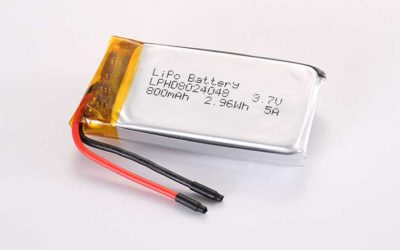 High Discharge Rate LiPo Battery LPHD8024048 3.7V 800mAh 5A 2.96Wh with protection circuit and wires 30mm